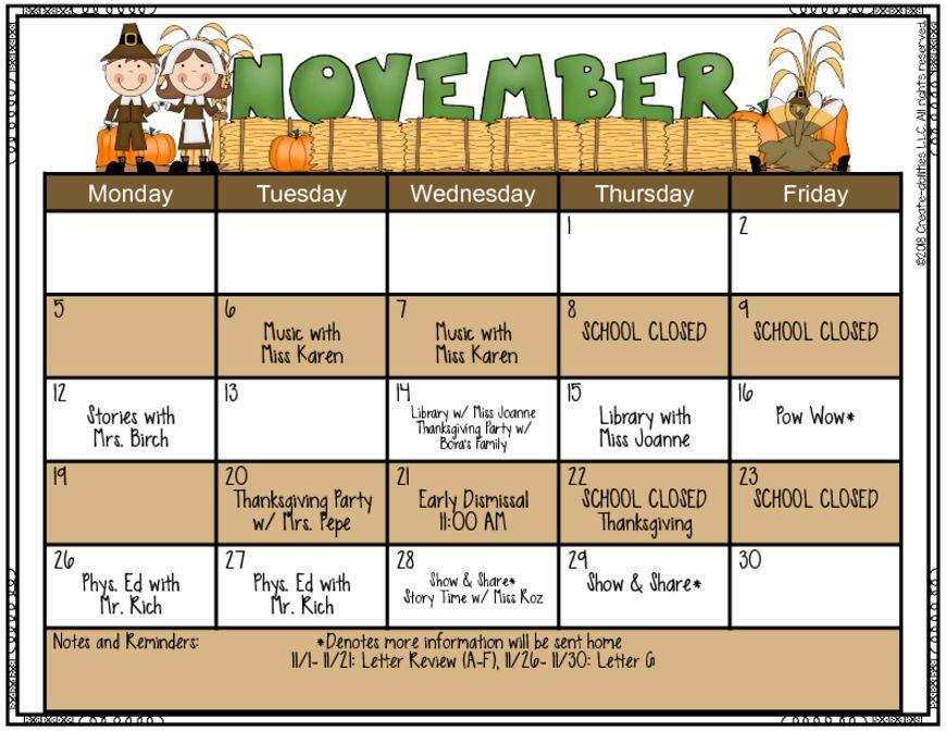 thumbnail of November Calendar